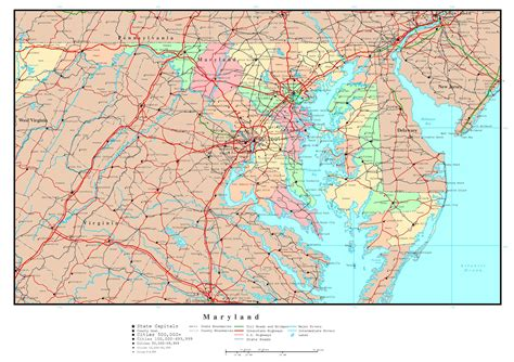 maryland map coordinates large detailed administrative map of maryland with