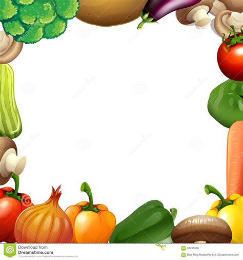 border design with mixed vegetables stock vector
