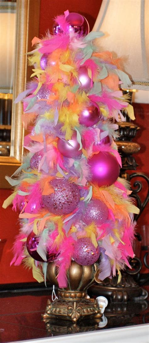 little girl feather boa and pink ornament topiary lighted