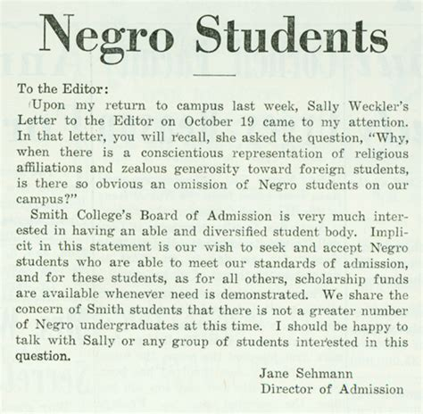 Smith College Acceptance Letter Quot Negro Students Quot A Letter To The Editor Of The Smith College Sophian By Director Of Admission