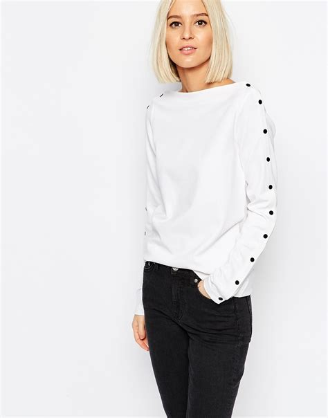 Button Detail Sleeve Top lyst weekday boat neck top with button sleeve detail in