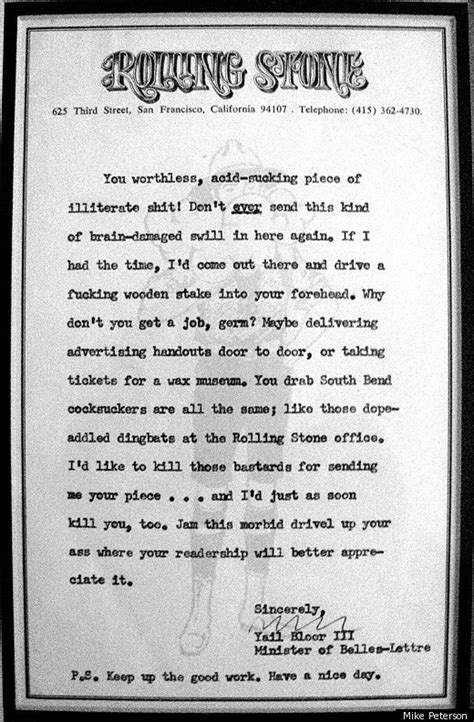 where do sts go on a letter hunter s thompson s amazing letter in response to a fan s
