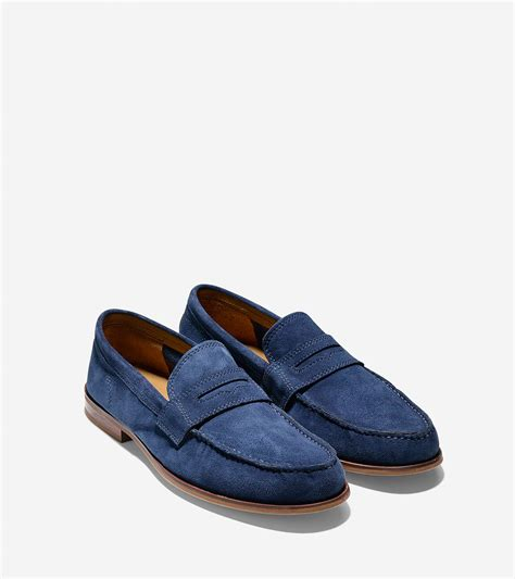 cole haan blue loafers cole haan topsail suede loafers in blue for lyst