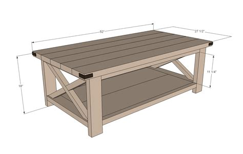 woodwork coffee table dimensions  plans