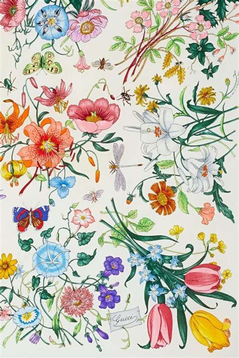 floral pattern artwork butterfly silk scarf by gucci live fashionably