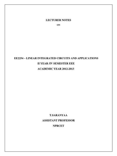 ee2254 linear integrated circuits and applications lecture notes linear integrated circuits and applications operational lifier lifier