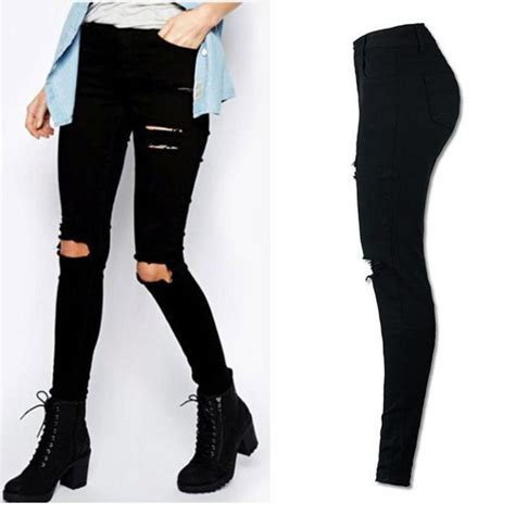 Terlaris Fragnaier Highwaist Slimming Pant denim ripped high waist stretch slim pencil trousers ebay