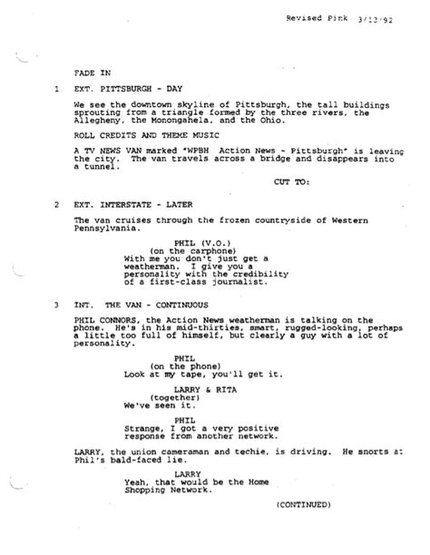 groundhog day script groundhog day screenplay by danny rubin for educational