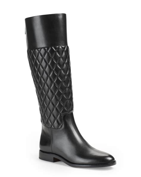 Black Quilted Boots by Michael Kors Mina Quilted Leather Knee Boot In Black Lyst