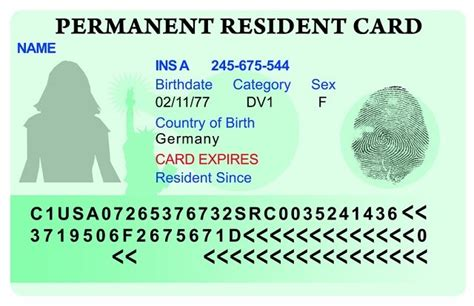 green card template for die greencard dauerhaft in den usa leben