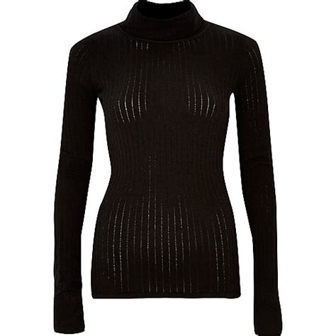 Knitted Ribbed Top Black black ribbed roll neck top knitted tops knitwear