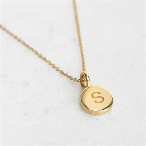 small gold or silver personalised disc necklace by