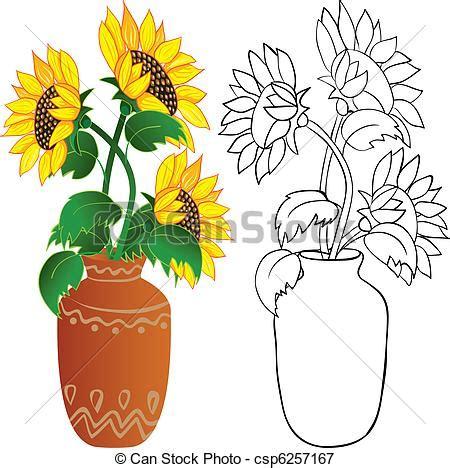 girasole in vaso illustrazioni vettoriali di girasole vaso girasole in