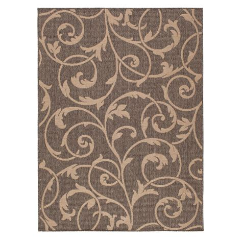 Hton Bay Scroll Gray Beige 5 Ft 3 In X 7 Ft Indoor Hton Bay Indoor Outdoor Rugs