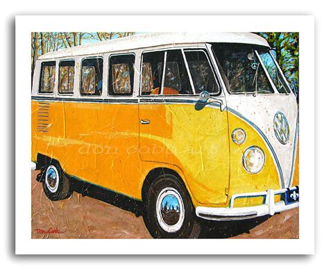 volkswagen bus painting vw volkswagen bus art hippie bus mellow yellow
