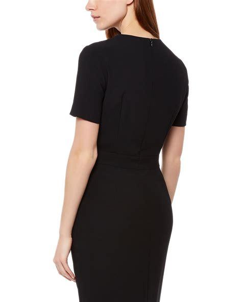 drape dresses jaeger pleated drape dress in black lyst
