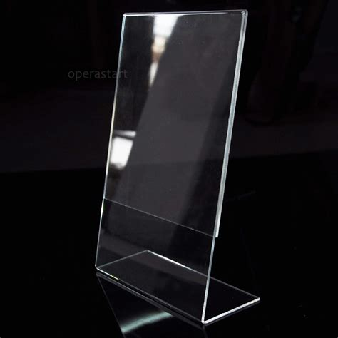 Desk Picture Holder by L Shaped Clear Acrylic Sign Display Holder Photo Picture