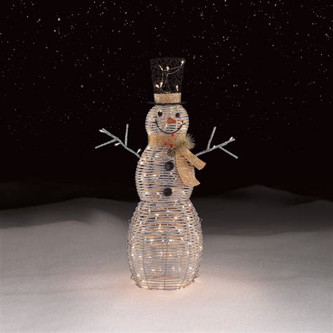 outdoor light up snowman roebuck co silver snowman outdoor decor