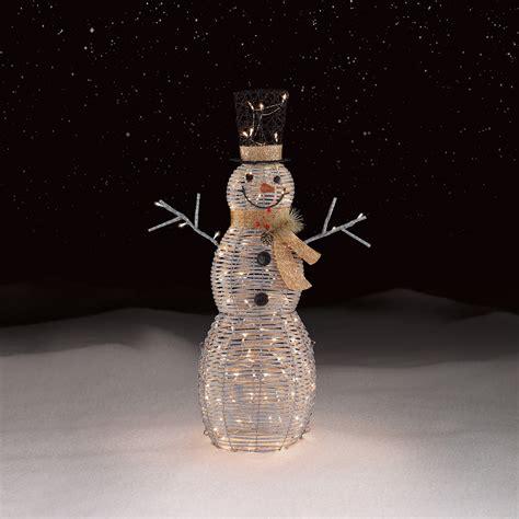 light up snowman outdoor roebuck co silver snowman outdoor decor