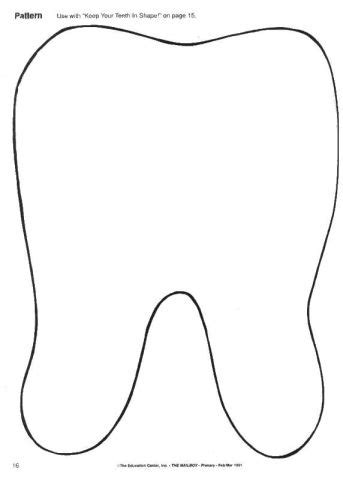 Tooth Writing Template by Kid N Kaboodle Daycare Dental Health