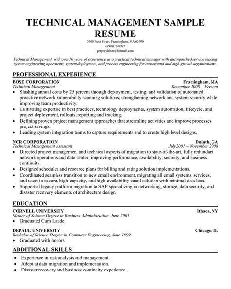 project management skills resume sle sle technical project manager resume 28 images sle