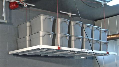 High Ceiling Garage Storage Ideas Motorized Ceiling Storage 01 Global Garage Flooring
