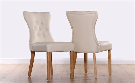 Oak Express Bedroom Furniture bewley ivory leather button back dining chair oak leg