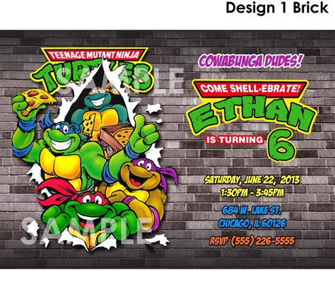 free printable birthday invitations ninja turtles teenage mutant ninja turtles invitation printable tmnt
