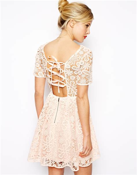 Asos Lace Back Courts by Lyst Asos Lace Skater Dress With Herringbone Tie Back