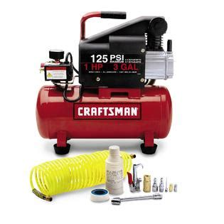3 gallon horizontal air compressor with hose and accessories at sears