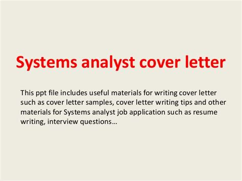 system analyst cover letter systems analyst cover letter