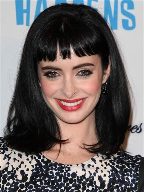 medium blunt hairstyles with bangs krysten ritter black medium straight hairstyles with blunt