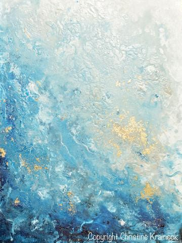 blue painting original modern blue abstract painting navy white grey gold leaf c