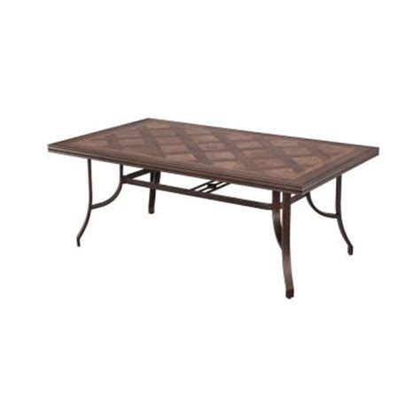 Tile Top Patio Dining Table Hton Bay Pine Valley Rectangular Tile Top Patio Dining Table Alf07717k01 The Home Depot