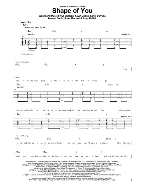 Tablature guitare Shape Of You de Ed Sheeran - Tablature