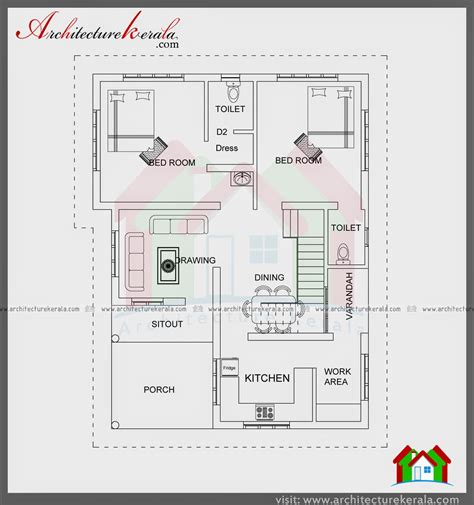 2 bedroom house plans kerala style 1000 sqft single storied house plan and elevation