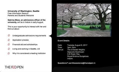 Uw Mba Information Session by Of Washington Info Session In Indore The Pen