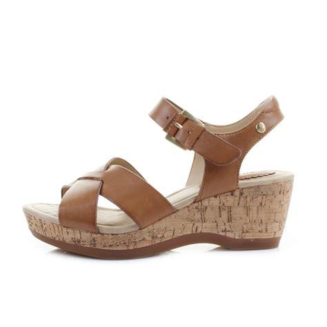 hush puppies wedges womens hush puppies farris leather cork wedge heel sandals shu size ebay