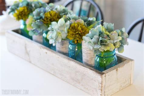 blue centerpiece boxes rustic planter box centerpiece with jars