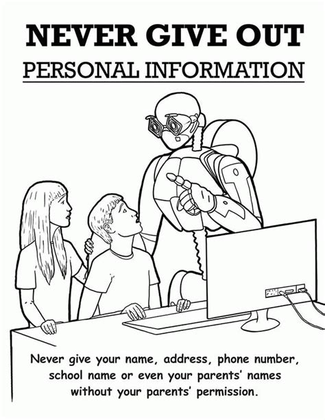 Internet Safety Coloring Page Coloring Home Safety Colouring Pages
