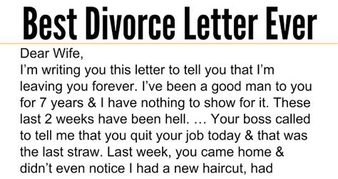Best Divorce Letter Nails It Awesome Quotes Husband Admits To Sleeping With Wife S But Response Is The Best
