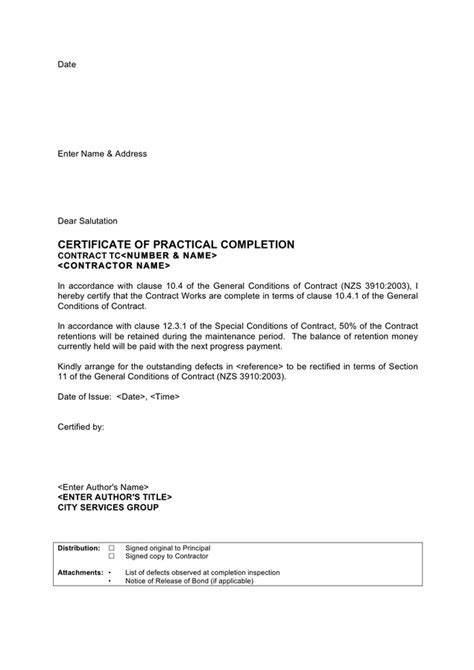 Letter Certificate Of Practical Completion New Zealand In Word And Pdf Formats Notice Of Completion Template