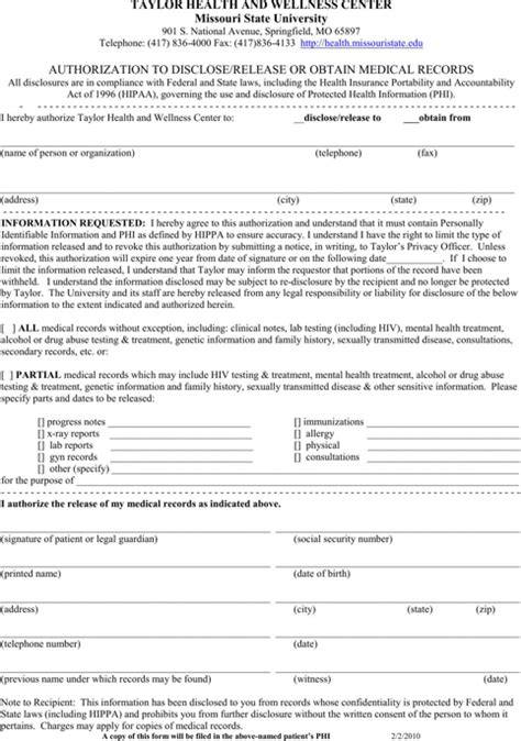Free Missouri Records Missouri Records Release Form For Free