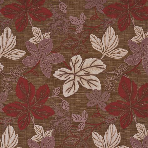 upholstery fabric leaves red pink and brown large leaves textured metallic