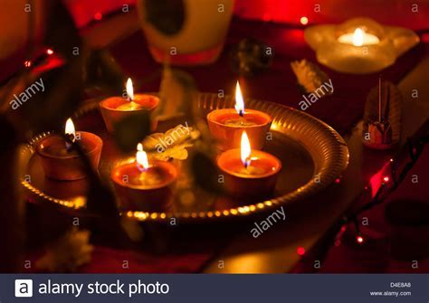 Burning Indian Oil Lamp On Stock Photos & Burning Indian