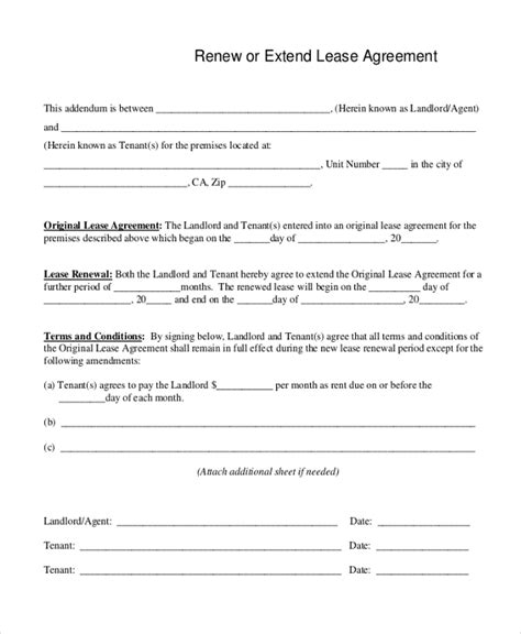 lease renewal agreement template free lease agreement form sles 8 free documents in