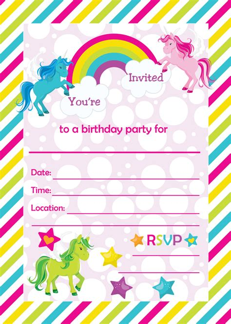 unicorn birthday invitation templates fill in birthday invitations printable rainbows and