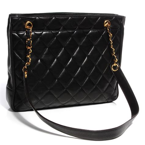 Chanel Black Quilted Tote by Chanel Vintage Lambskin Quilted Shopper Tote Black 95468