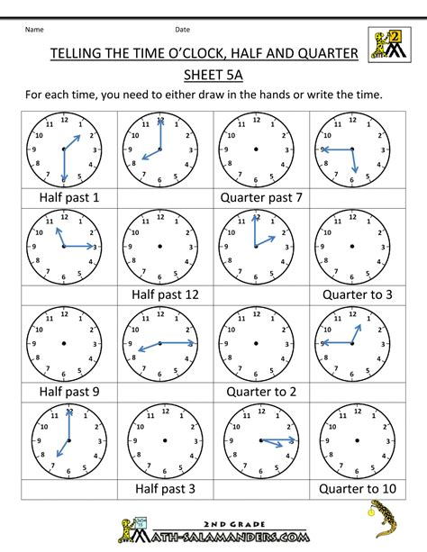 clock worksheets quarter past time worksheet o clock quarter and half past