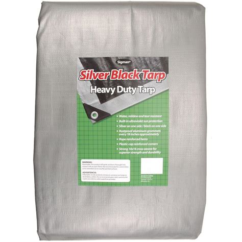sigman 20 ft x 20 ft silver black heavy duty tarp